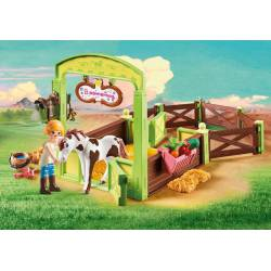Abigail and Boomerang with Horse Stall.