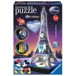 Disney Eiffel tower, night. 3D.