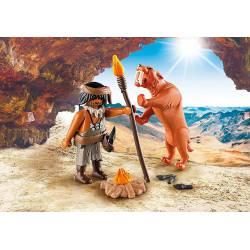 Caveman with sabertooth tiger.