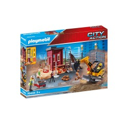 Mini Excavator with Building Section.