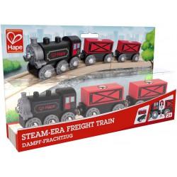 Steam era freight train.