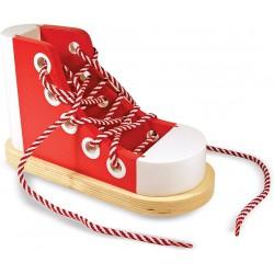 Wooden lacing shoe.