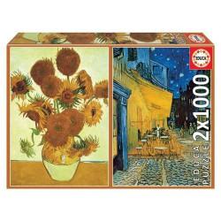 Los girasoles + Terraza de café por la noche, Vincent Van Gogh. 2X1000